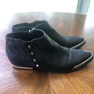 Studded pointed ankle boots